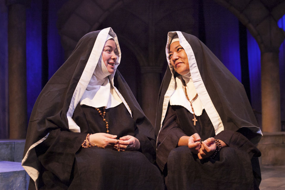 Coco Blignaut as Sister Teresa and Tsulan Cooper as sister Teresa and sister Angelica in the play God's Gypsy, Hollywood, Calif. photo by Silvia Spross
