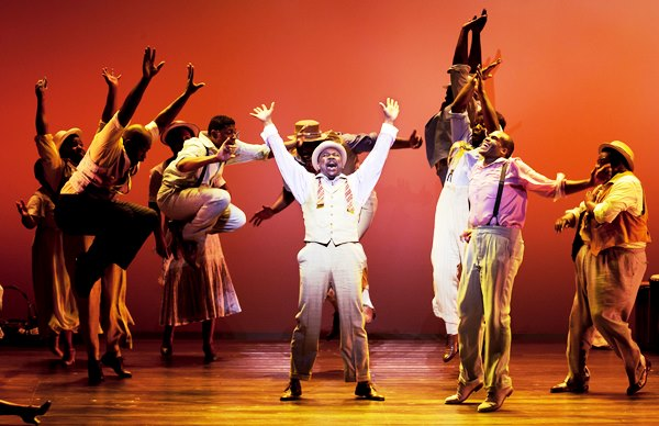 Kingsley Leggs (center) and the cast of ?The Gershwins? Porgy and Bess? by George Gershwin, DuBose and Dorothy Heyward, and Ira Gershwin, book adapted by Suzan-Lori Parks and musical score adapted by Diedre L. Murray. Directed by Diane Paulus, ?The Gershwins? Porgy and Bess? previews at the Center Theatre Group/Ahmanson Theatre April 22 and opens April 23. Performances continue through June 1, 2014. For tickets and information, please visit CenterTheatreGroup.org or call (213) 972-4400.  Contact: CTGMedia@CenterTheatreGroup.org/ (213) 972-7376 Photo by Michael J. Lutch