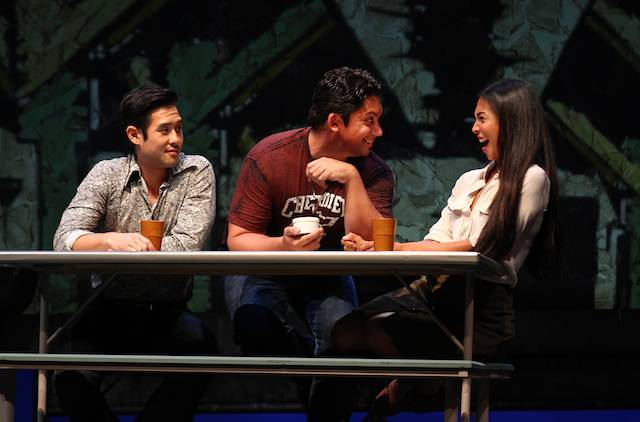 Raymond Lee, Jon Hoche and Maureen Sebastian in South Coast Repertory's 2015 world premiere of VIETGONE by Qui Nguyen.