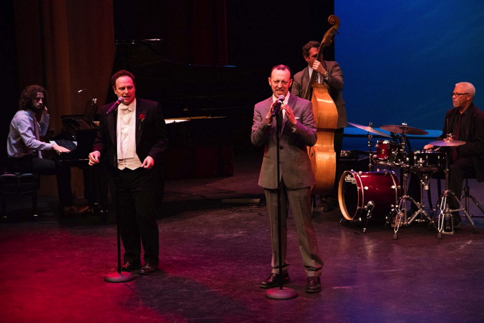 The evening's MC - Jake Broder - performing with  Musical Director Corey Hirsch; Kenny Elliot; Geoff Rakness.