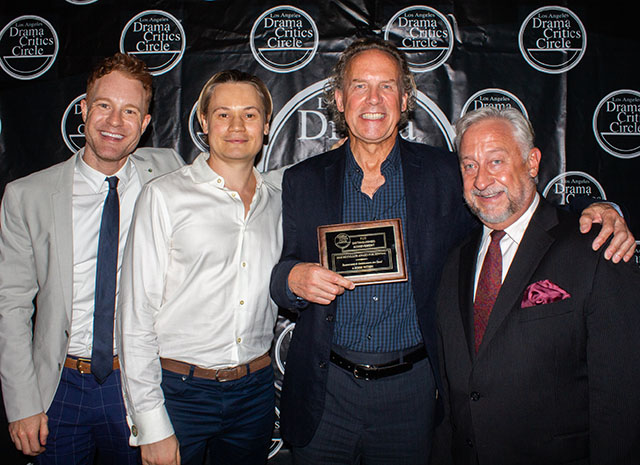 Kasey Mahaffy, Paul David Story, Geoff Elliott and Wesley Mann celebrate their award for A Noise Within's revival of Rosencrantz and Guildenstern Are Dead